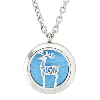 Wild Deer Essential Oil Diffuser Locket Necklace with 5 Easy-Switch Oil Pads
