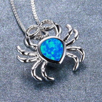 Aquastone™ - Blue Fire Opal Crab Necklace