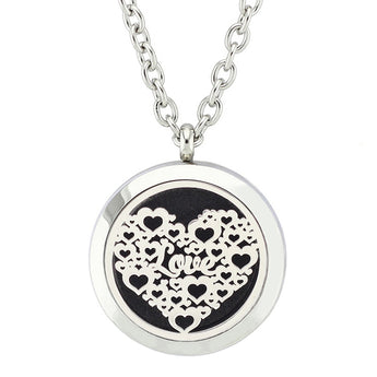 Hearts of Love Essential Oil Diffuser Locket Necklace with 5 Easy-Switch Oil Pads