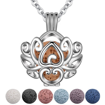 Flower Basket Lava Stone Essential Oil Diffuser Pendant Necklace