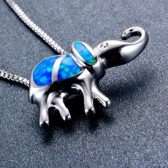 Aquastone™ - Blue Fire Opal Tribal Elephant Necklace