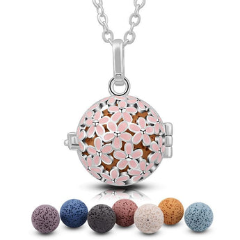 Pink Flower Pop Lava Stone Essential Oil Diffuser Pendant Necklace