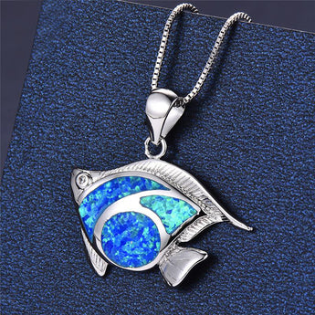 Aquastone™ - Angelfish Blue Fire Opal Necklace