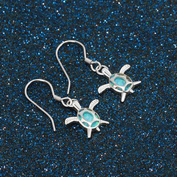 Aquastone™ - Aqua Fire Opal Loggerhead Sea Turtles Earrings
