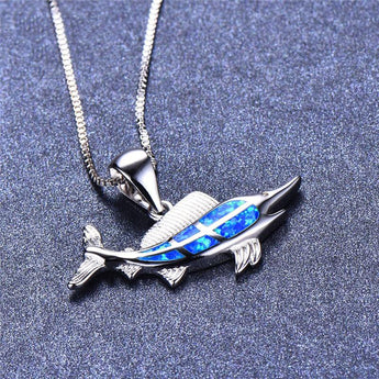 Aquastone™ - Swordfish Blue Fire Opal Necklace