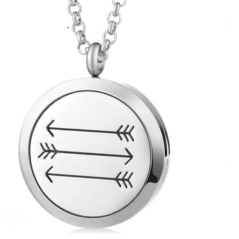 Tribal Arrows Essential Oil Diffuser Locket Necklace with 5 Easy-Switch Oil Pads