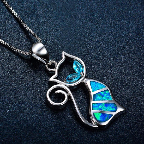 Aquastone™ - Aquamarine & Blue Fire Opal Dainty Cat Necklace