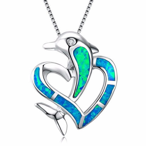 Aquastone™ - Blue Fire Opal Dolphin Love Necklace