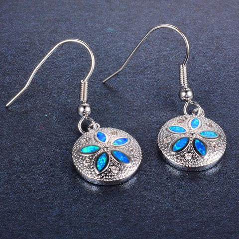 Aquastone™ - Blue Fire Opal Sand Dollar Earrings