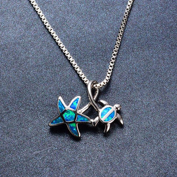 Aquastone™ - Blue Fire Opal Ocean Friends Necklace