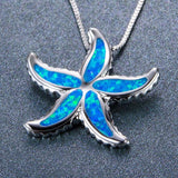 Aquastone™ - Blue Fire Opal Starfish Tribal Necklace