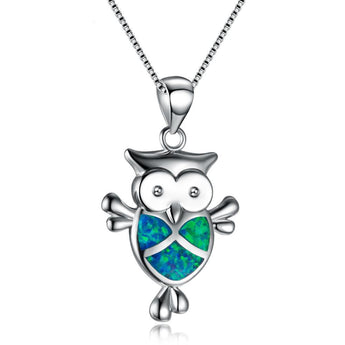 Aquastone™ - Blue and White Fire Opal Owl Necklace