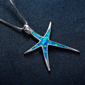 Aquastone™ - Blue Fire Opal Starfish Necklace