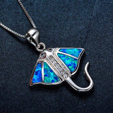 Aquastone™ - Blue Fire Opal & Crystalline Rhinestone Stingray Necklace