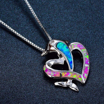 Aquastone™ - Blue and Pink Fire Opal Dolphin Love Necklace