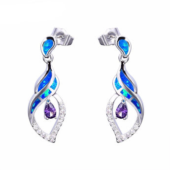 Aquastone™ - Blue and White Fire Opal Cerith Seashell with Amethyst Purple Earrings