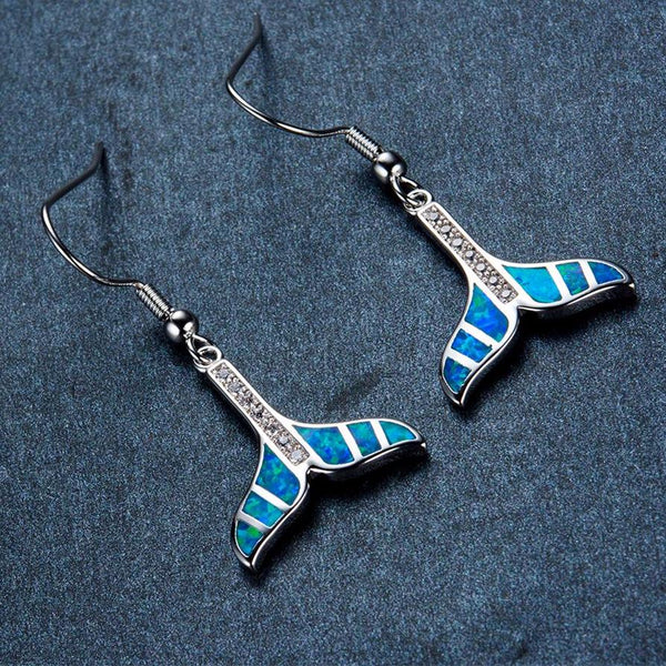 Aquastone™ - Blue Fire Opal Whale's Tail Earrings