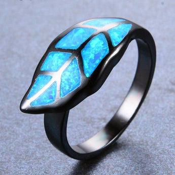Aquastone™ - Blue Fire Opal Leaf Ring