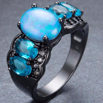 Aquastone™ - Blue Fire Opal Bud & Aquamarine Ring