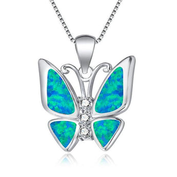 Aquastone™ - Blue and White Fire Opal Studded Butterfly Necklace