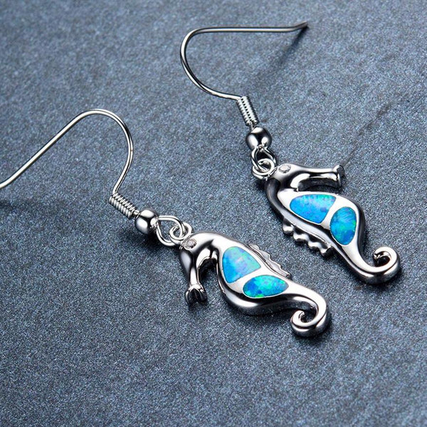Aquastone™ - Blue Fire Opal Seahorse Earrings
