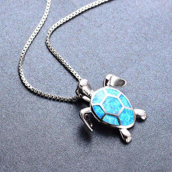 Aquastone™ - Blue Fire Opal Sea Turtle Tribal Necklace
