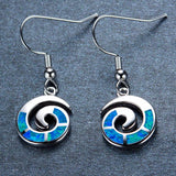 Aquastone™ - Blue Fire Opal Nautilus Seashell Earrings