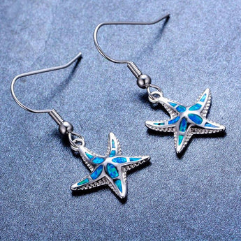 Aquastone™ - Blue and White Fire Opal Starfish Tribal Earrings