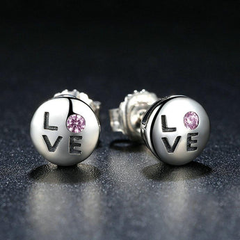 Brilliant Blush™ - LOVE Earrings in Sterling Silver