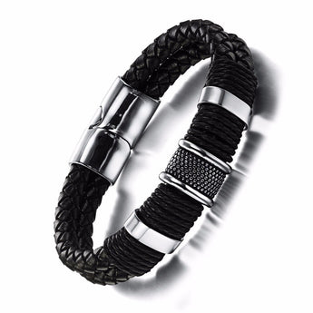 Náutico™ Dragonskin Stainless Steel and Authentic Braided Leather Bracelet