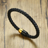 Náutico™ Gold Tip Stainless Steel and Authentic Braided Leather Bracelet