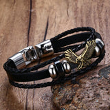 Náutico™ Gold Eagle Stainless Steel and Authentic Flat and Braided Leather Bracelet