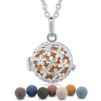 Flower Pop Lava Stone Essential Oil Diffuser Pendant Necklace