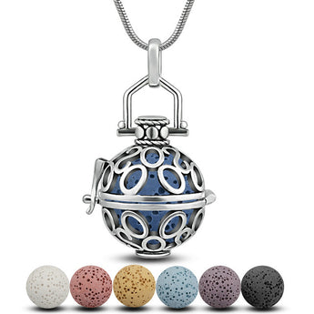 Ovals and Curves Lava Stone Essential Oil Diffuser Pendant Necklace