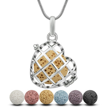 Waffle Heart Lava Stone Essential Oil Diffuser Pendant Necklace