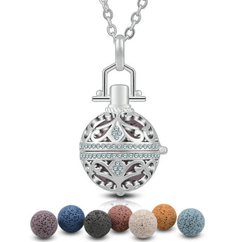 Studded Paisley Heart Lava Stone Essential Oil Diffuser Pendant Necklace