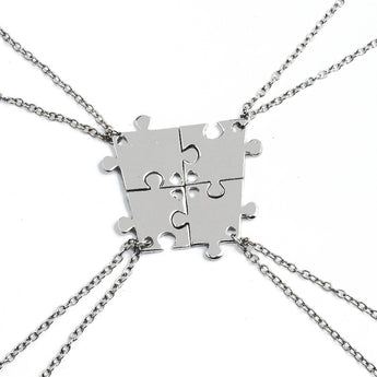Autism Awareness 4-Piece Stainless Steel Puzzle Family Pendant Necklaces