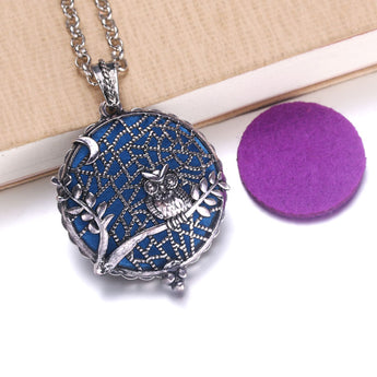 Vintage Night Owl Essential Oil Diffuser Locket Necklace with 1 Easy-Switch Oil Pad