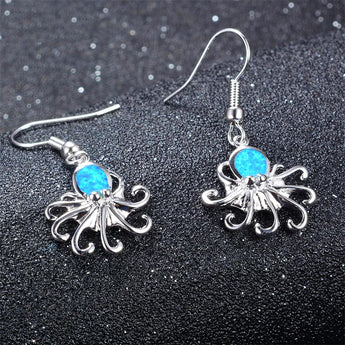 Aquastone™ - Blue Fire Opal Octopus Earrings