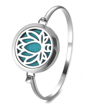 Lotus Essential Oil Diffuser Bangle with 5 Easy-Switch Oil Pads