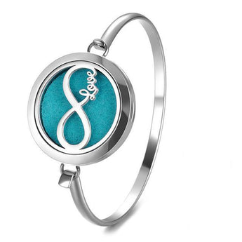 Infinite Love Essential Oil Diffuser Bangle with 5 Easy-Switch Oil Pads