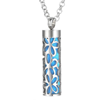 Flower Power Essential Oil Diffuser Tube Locket Necklace with 5 Easy-Switch Oil Pads