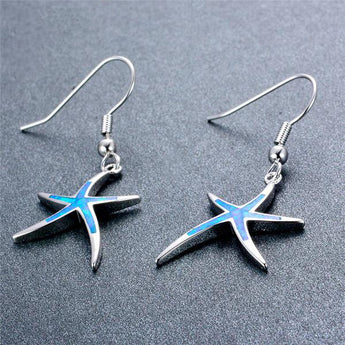 Aquastone™ - Blue Fire Opal Sassy Starfish Earrings