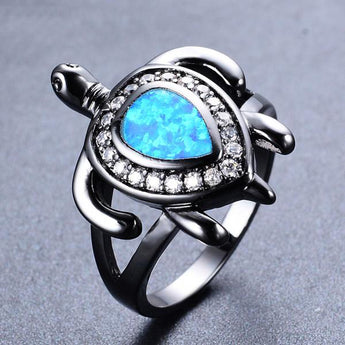 Aquastone™ - Blue Fire Opal Sea Turtle in Gemstones Ring
