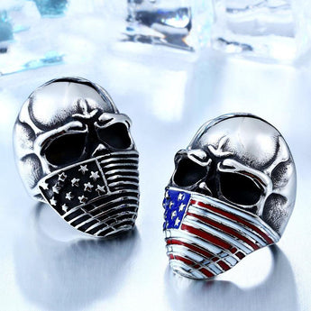SKULL FACTORY™ Stainless Steel Skull with American Flag Ring