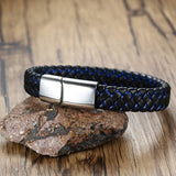 Náutico™ Sheen Magnetic Stainless Steel and 2-Toned Authentic Leather Bracelet