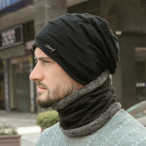 Unisex Super Warm Fleece-Lined Beanie + Neck Warmer Sport Set
