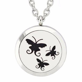 Tres Mariposas Essential Oil Diffuser Locket Necklace with 5 Easy-Switch Oil Pads