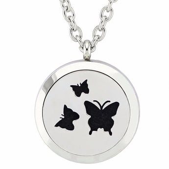 Butterflies Essential Oil Diffuser Locket Necklace with 5 Easy-Switch Oil Pads