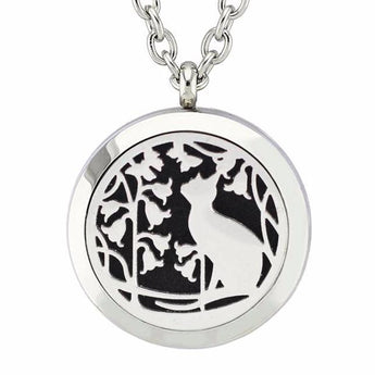 Cat in the Garden Essential Oil Diffuser Locket Necklace with 5 Easy-Switch Oil Pads